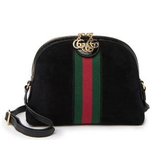 GUCCI Small 'Ophidia' Suede Satchel Logo 'GG' Bag